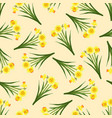 yellow daffodil - narcissus seamless on beige vector image