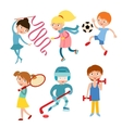 Young kids sportsmens isolated on white vector image vector image