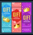 gift voucher card set template monetary value vector image