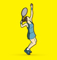 woman tennis player serve vector image