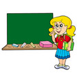 advising school girl with blackboard vector image