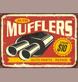 auto mufflers retro tin sign design vector image vector image