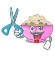 barber character a bowl of oatmeal porridge vector image