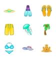 Beach vacation icons set cartoon style vector image vector image