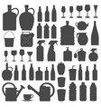 beverage bottle and glass icons silhouettes vect vector image vector image