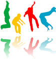 Colored children silhouettes jumping vector image vector image