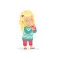 colorful of cute blond girl with cup vector image vector image