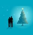 couple near christmas tree vector image vector image