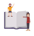 couple with text book avatar character vector image vector image