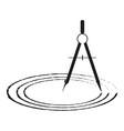 drawing compasses and drawn circles vector image
