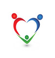 family people holding hands and forming a heart vector image vector image