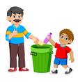 father and his son collecting rubbish plastic vector image vector image
