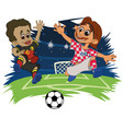 funny kids in sports uniform playing football vector image
