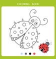funny ladybug for coloring book vector image vector image