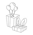 gift box balloons and ribbon vector image