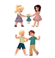 Girls fighting over a doll and boys punching each vector image