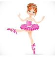 Graceful brunette ballerina girl dancing in pink vector image vector image
