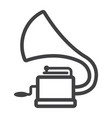 gramophone line icon music and instrument vector image