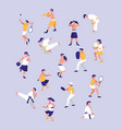 group people practicing sport avatar character vector image
