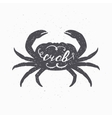 Hand drawn crab hipster silhouette Handwritten vector image vector image