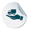 hand holding a Truck Logistic icon symbol icon vector image