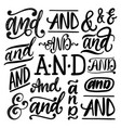 handwritten ampersands and conjunctions and vector image vector image