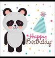 happy birthday card with bear panda vector image vector image