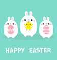 happy easter bunny holding chicken bird painting vector image vector image