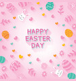 happy easter day background with easter flat icons vector image vector image