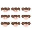 kawaii girl head emotions vector image vector image