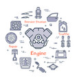 linear round banner of engine - car part vector image vector image