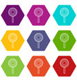 lollipop icons set 9 vector image vector image