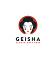 minimalist japanese geisha face logo icon vector image