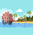 pirate boat in ocean marine landscape with pirate vector image