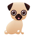 pug cute cartoon character vector image vector image