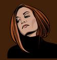 redhead woman portraitcartoon style vector image vector image