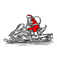 santa claus driving snowmobile vector image vector image