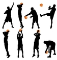 Set back silhouettes of men playing basketball on vector image vector image
