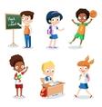 set cheerful school children students cartoon vector image