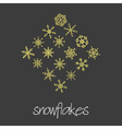 set of 16 types of green snowflakes eps10 vector image vector image