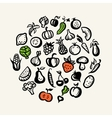 Set of flat design fruit and vegetables icons vector image vector image