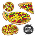 set of pizza pizza hand drawn pizza vector image