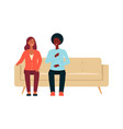 shocked couple sitting on couch cartoon style vector image