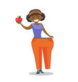 slim woman in pants showing the results of diet vector image vector image