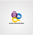 social communication logo icon element and vector image vector image