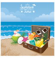 Suitcase with Summer Objects on the Beach vector image vector image