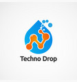 techno drop with bubble logo icon element and vector image