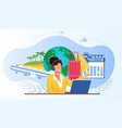 touristic service with travel company manager vector image