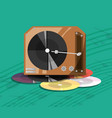 turntable music with vinyl record vector image vector image