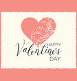 valentine card with pink heart and vector image